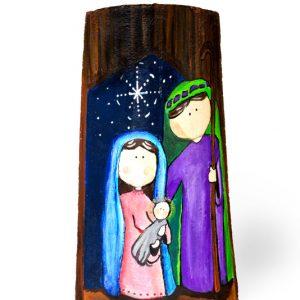 Naciemiento 2 Azul - Teja pintada con acrilico y con protección de barniz - Largo 38 cm aproxi.