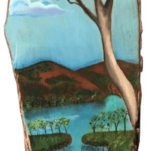 Paisaje de El Salvador en madera de laurel