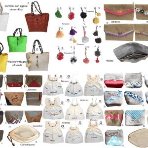 Combo artesanal de cartera,cosmetiquera, monedero, billetera en yute ,pompón y vestido artesanal