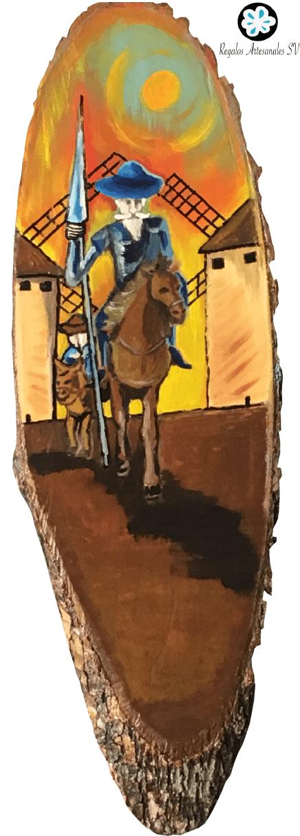 Estaca de madera de laurel con Quijote y sancho-01
