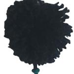 Pompones para carteras negro con piedras verdes-01