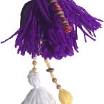 pompones para carteras morado con lazos amarilos y balacons-01