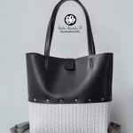 Cartera de cuero negro con hilo blanco-01