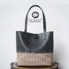 Cartera nuevo diseño cuero negro hilo plástico café convinado-01